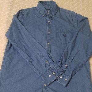 Denim blue long sleeve button down shirt